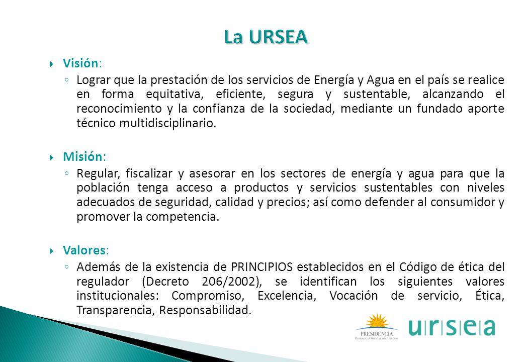 Visión: Lograr que la prestación de los servicios de Energía y Agua en el país se realice en forma equitativa, eficiente, segura y sustentable, alcanz
