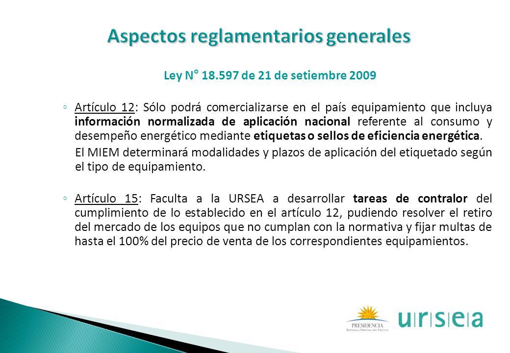 Ley N° 18.597 de 21 de setiembre 2009 Artículo 12: Sólo podrá comercializarse en el país equipamiento que incluya información normalizada de aplicació