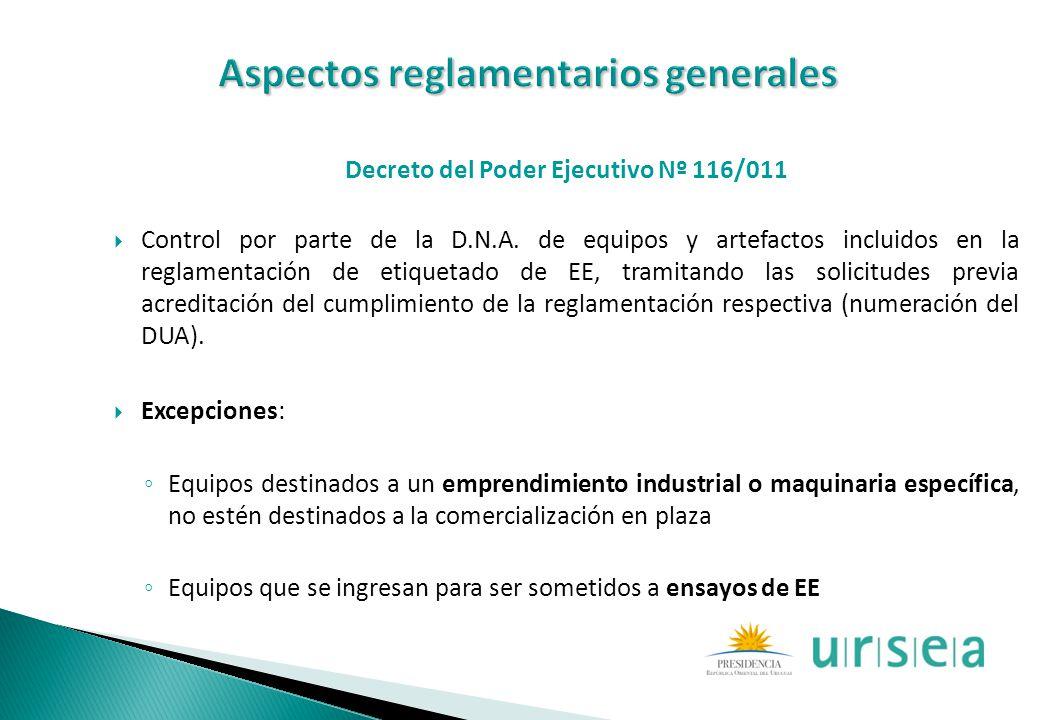 Decreto del Poder Ejecutivo Nº 116/011 Control por parte de la D.N.A. de equipos y artefactos incluidos en la reglamentación de etiquetado de EE, tram