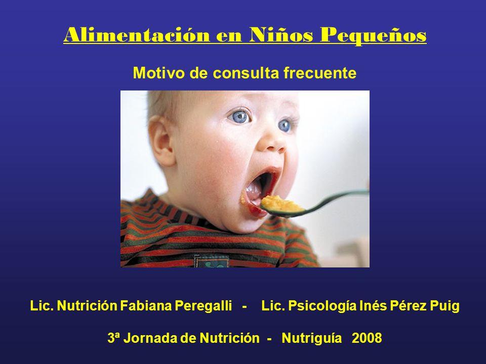 Alimentación en Niños Pequeños Motivo de consulta frecuente Lic. Nutrición Fabiana Peregalli - Lic. Psicología Inés Pérez Puig 3ª Jornada de Nutrición