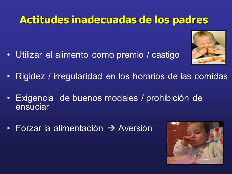 Utilizar el alimento como premio / castigo Rigidez / irregularidad en los horarios de las comidas Exigencia de buenos modales / prohibición de ensucia