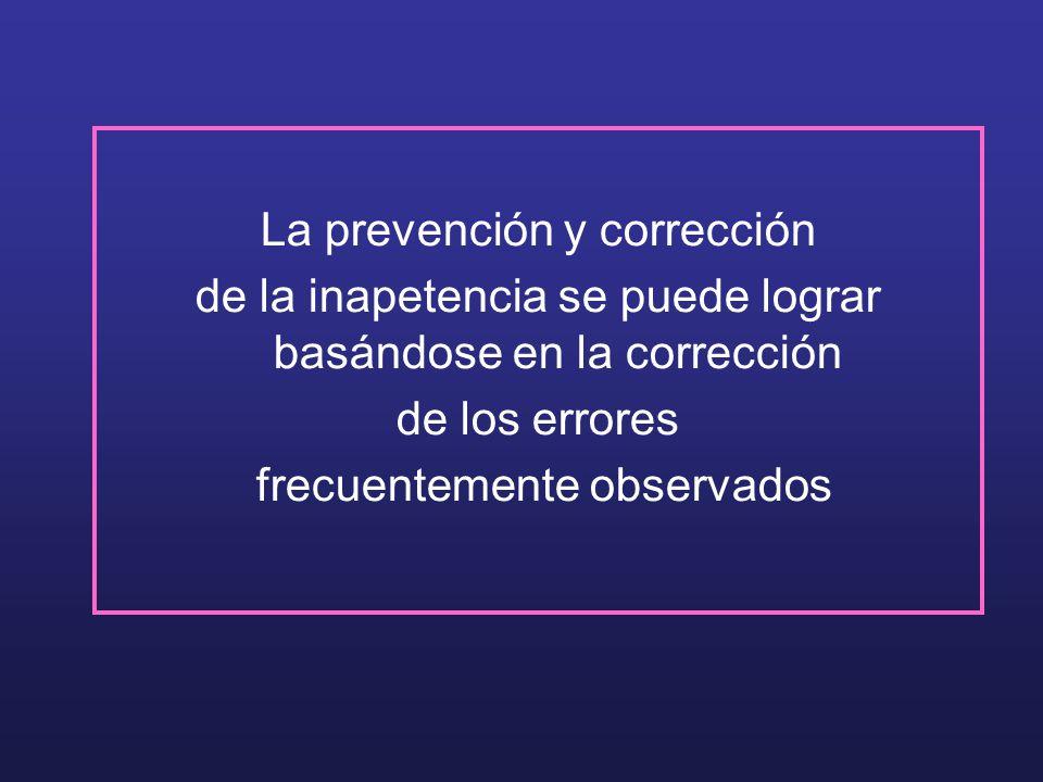La prevención y corrección de la inapetencia se puede lograr basándose en la corrección de los errores frecuentemente observados
