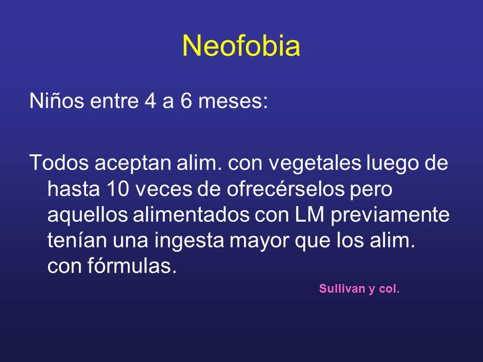 Neofobia Niños entre 4 a 6 meses: Todos aceptan alim. con vegetales luego de hasta 10 veces de ofrecérselos pero aquellos alimentados con LM previamen