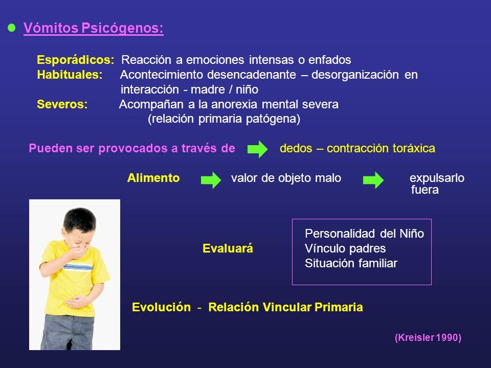Vómitos Psicógenos: Esporádicos: Reacción a emociones intensas o enfados Habituales: Acontecimiento desencadenante – desorganización en interacción -
