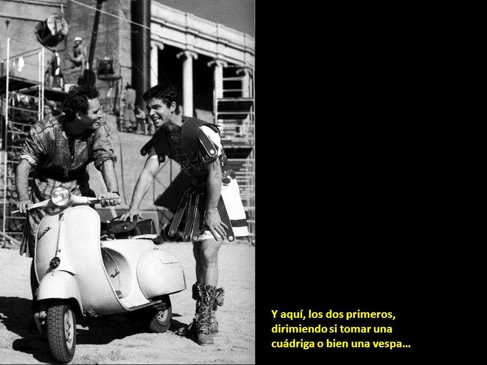 Charlton Heston, Stephen Boyd y William Wyler en el rodaje de Ben Hur