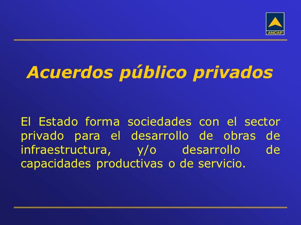 Acuerdos público privados El Estado forma sociedades con el sector privado para el desarrollo de obras de infraestructura, y/o desarrollo de capacidad