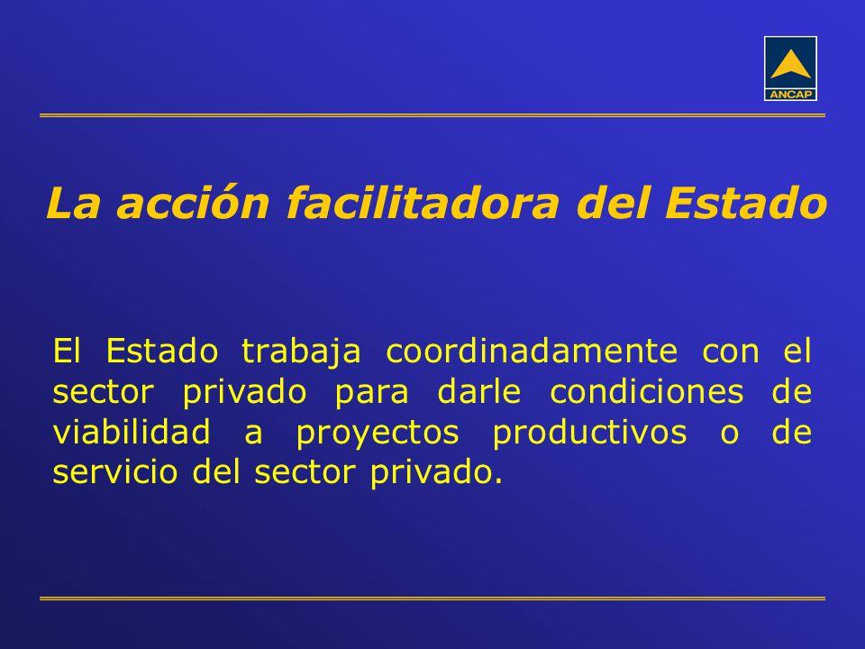 La acción facilitadora del Estado El Estado trabaja coordinadamente con el sector privado para darle condiciones de viabilidad a proyectos productivos