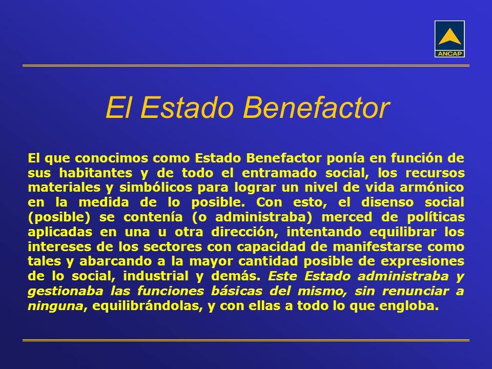 El Estado Benefactor El que conocimos como Estado Benefactor ponía en función de sus habitantes y de todo el entramado social, los recursos materiales