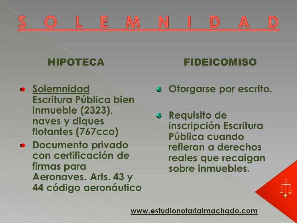 HIPOTECA Inscripción constitutiva (inscripción en el Registro) (2223) La inscripción es el modo, con este nace el Derecho real de hipoteca.