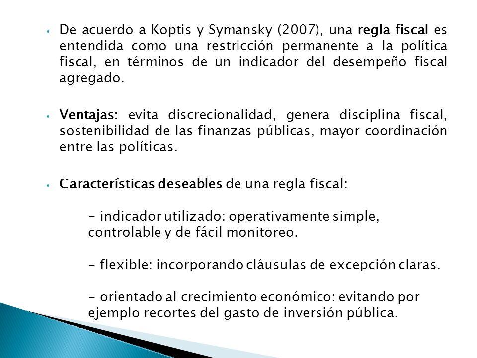 De acuerdo a Koptis y Symansky (2007), una regla fiscal es entendida como una restricción permanente a la política fiscal, en términos de un indicador del desempeño fiscal agregado.