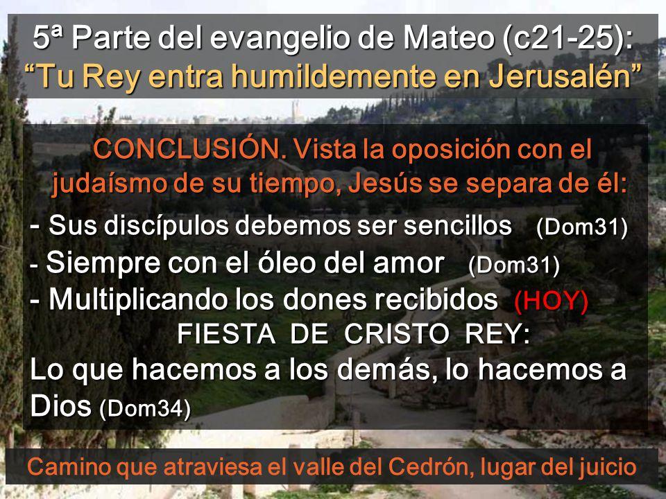 Camino que atraviesa el valle del Cedrón, lugar del juicio 5ª Parte del evangelio de Mateo (c21-25): Tu Rey entra humildemente en Jerusalén CONCLUSIÓN.