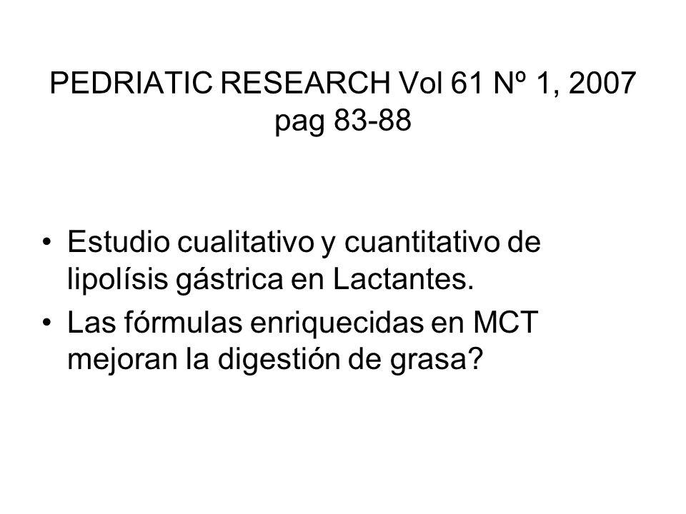 PEDRIATIC RESEARCH Vol 61 Nº 1, 2007 pag 83-88 Estudio cualitativo y cuantitativo de lipolísis gástrica en Lactantes. Las fórmulas enriquecidas en MCT