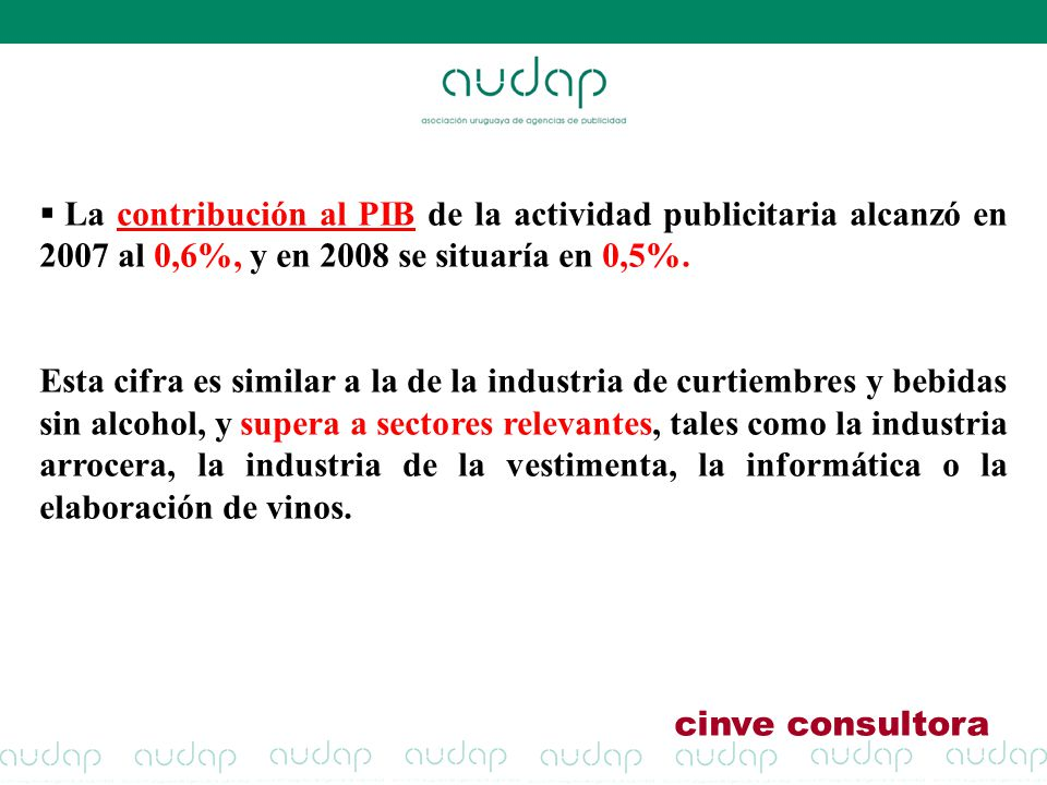 La contribución al PIB de la actividad publicitaria alcanzó en 2007 al 0,6%, y en 2008 se situaría en 0,5%. Esta cifra es similar a la de la industria