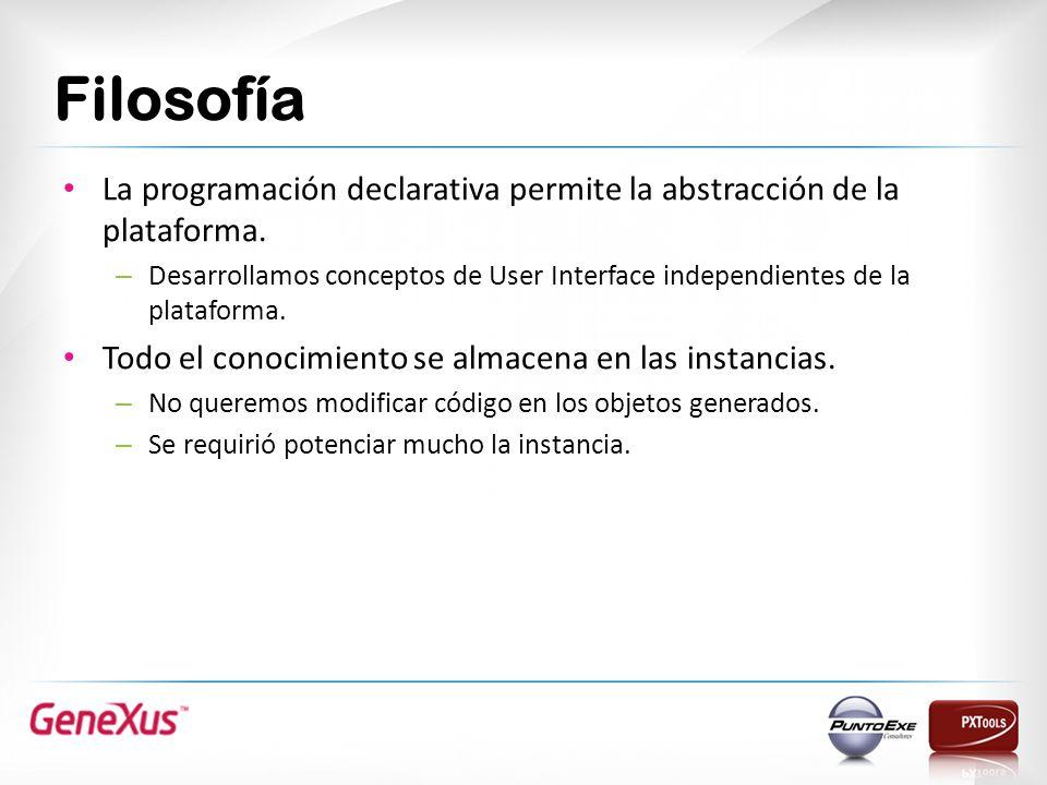 Filosofía La programación declarativa permite la abstracción de la plataforma.