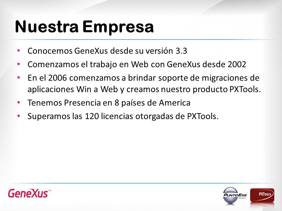 Nuestra Empresa Conocemos GeneXus desde su versión 3.3 Comenzamos el trabajo en Web con GeneXus desde 2002 En el 2006 comenzamos a brindar soporte de