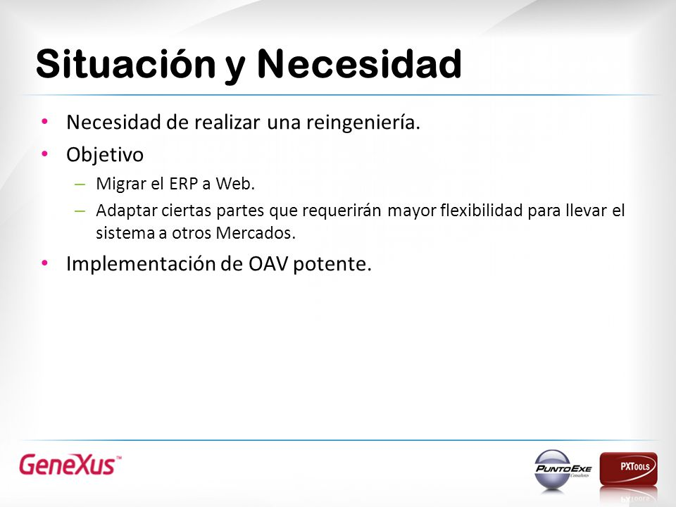 Situación y Necesidad Necesidad de realizar una reingeniería. Objetivo – Migrar el ERP a Web. – Adaptar ciertas partes que requerirán mayor flexibilid
