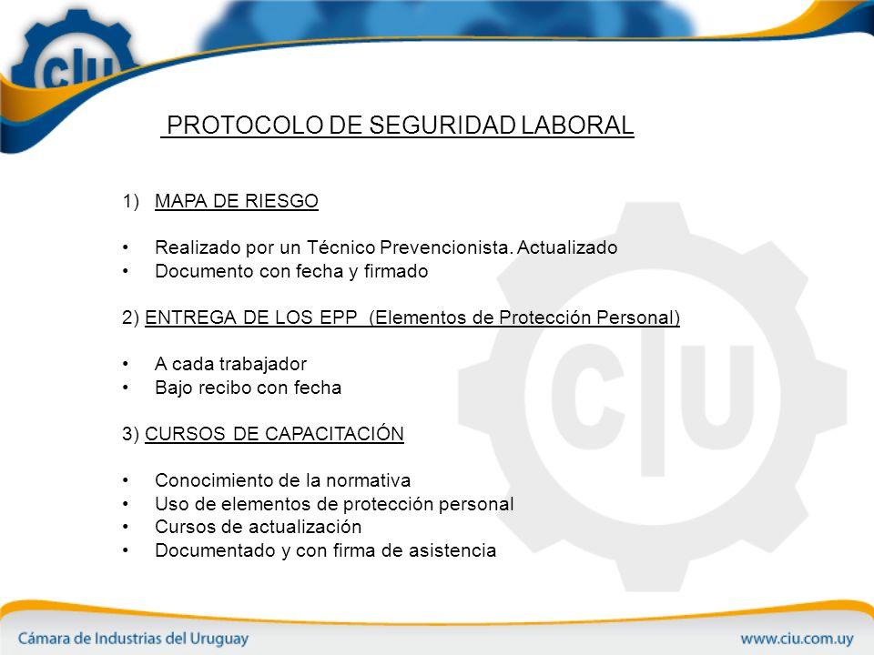 PROTOCOLO DE SEGURIDAD LABORAL 1)MAPA DE RIESGO Realizado por un Técnico Prevencionista.