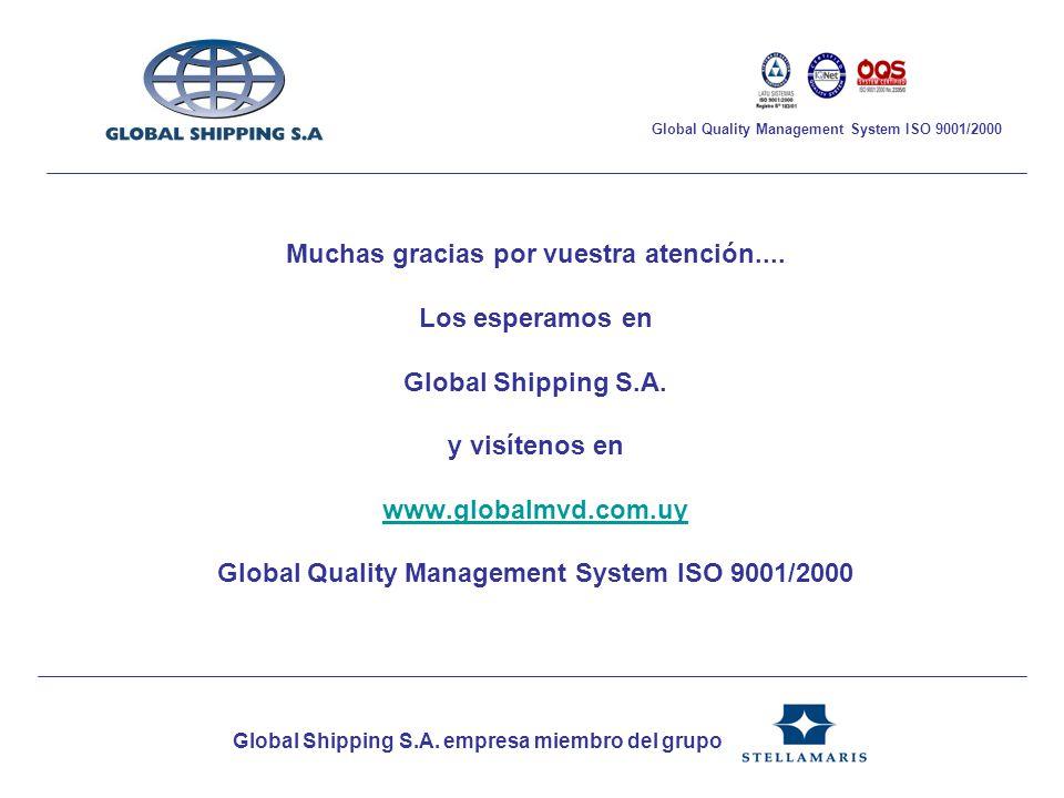 Muchas gracias por vuestra atención.... Los esperamos en Global Shipping S.A. y visítenos en www.globalmvd.com.uy Global Quality Management System ISO