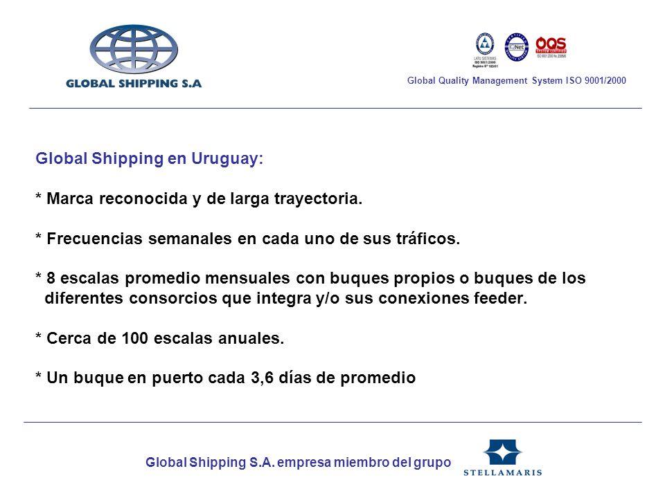 Global Shipping en Uruguay: * Marca reconocida y de larga trayectoria. * Frecuencias semanales en cada uno de sus tráficos. * 8 escalas promedio mensu