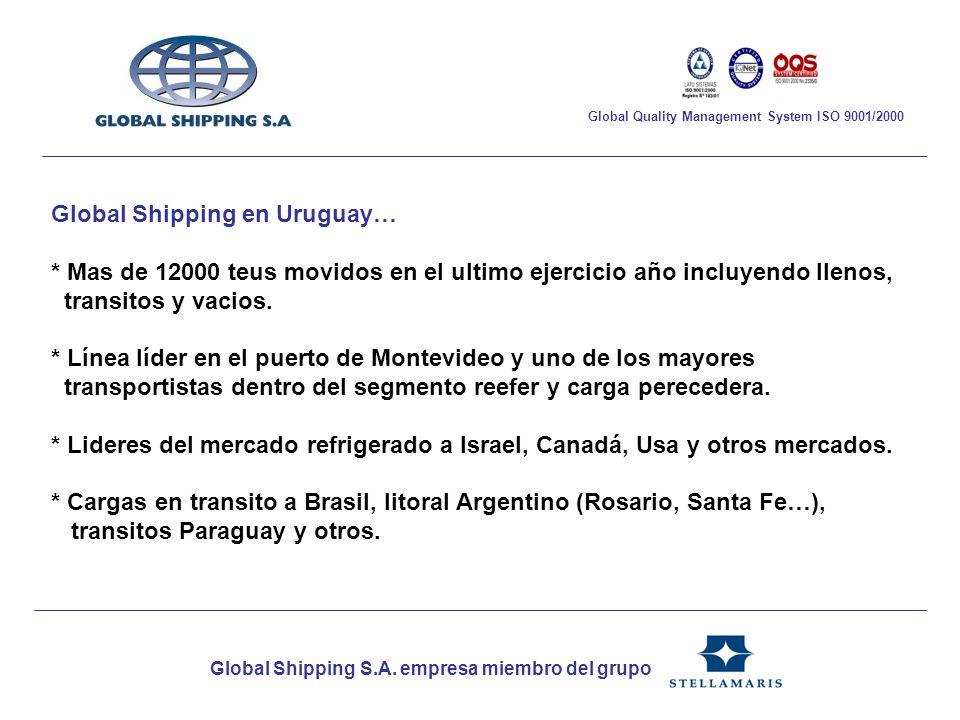 Global Shipping en Uruguay… * Mas de 12000 teus movidos en el ultimo ejercicio año incluyendo llenos, transitos y vacios. * Línea líder en el puerto d