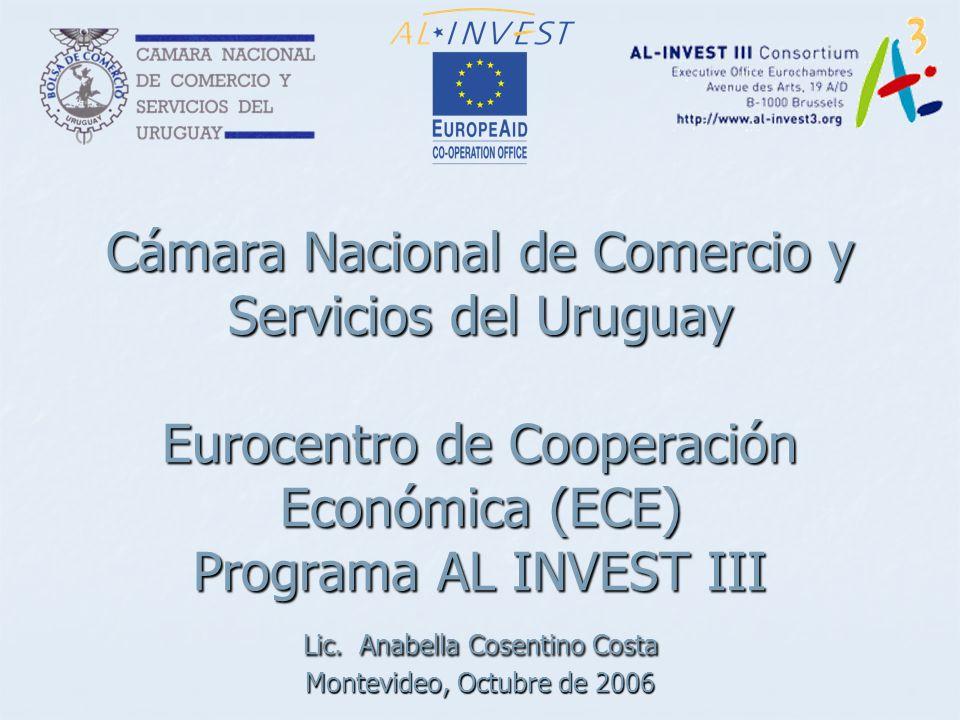 Cámara Nacional de Comercio y Servicios del Uruguay Eurocentro de Cooperación Económica (ECE) Programa AL INVEST III Lic.