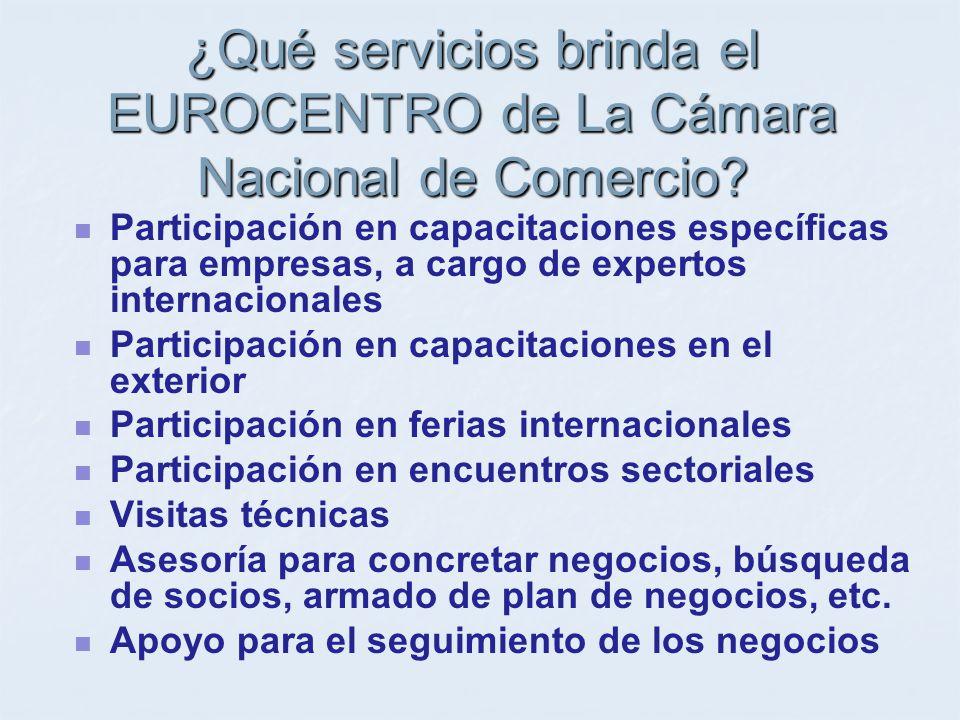 ¿Qué servicios brinda el EUROCENTRO de La Cámara Nacional de Comercio.