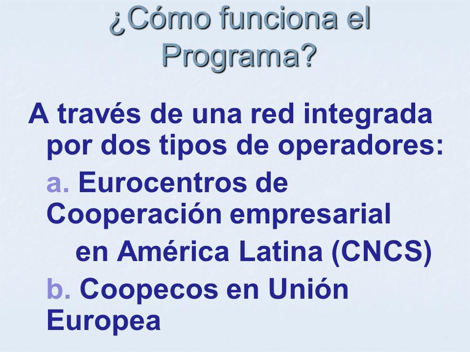 ¿Cómo funciona el Programa. A través de una red integrada por dos tipos de operadores: a.