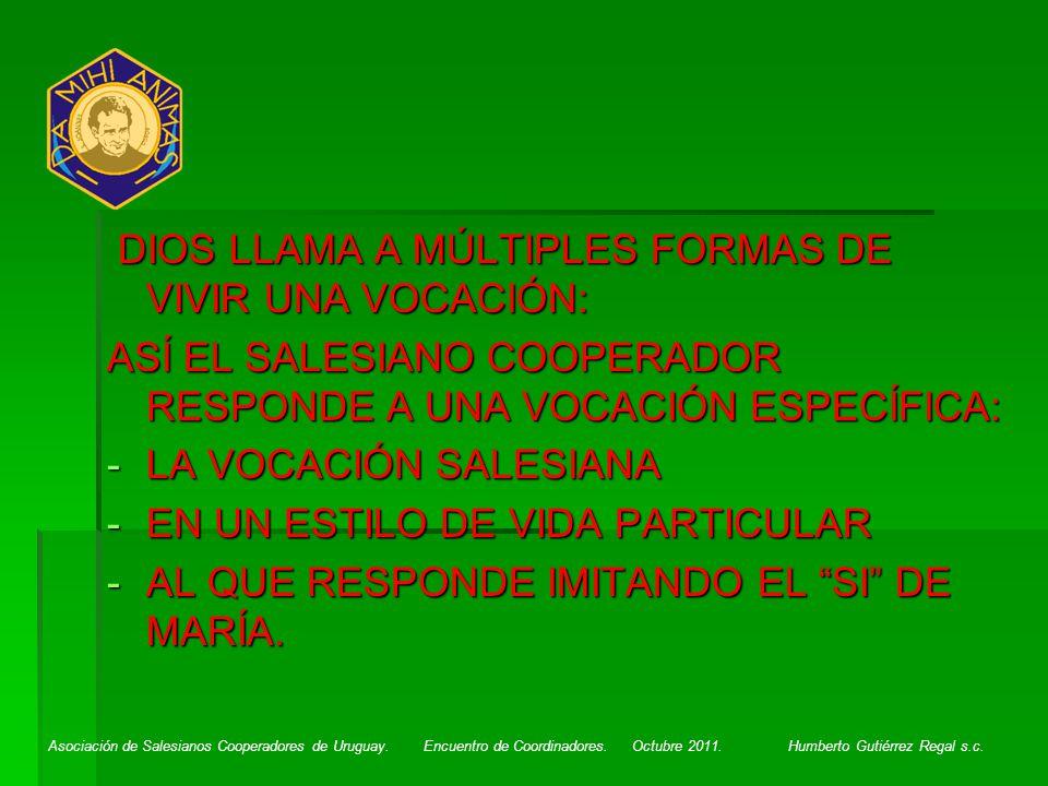 Asociación de Salesianos Cooperadores de Uruguay. Encuentro de Coordinadores. Octubre 2011. Humberto Gutiérrez Regal s.c. DIOS LLAMA A MÚLTIPLES FORMA