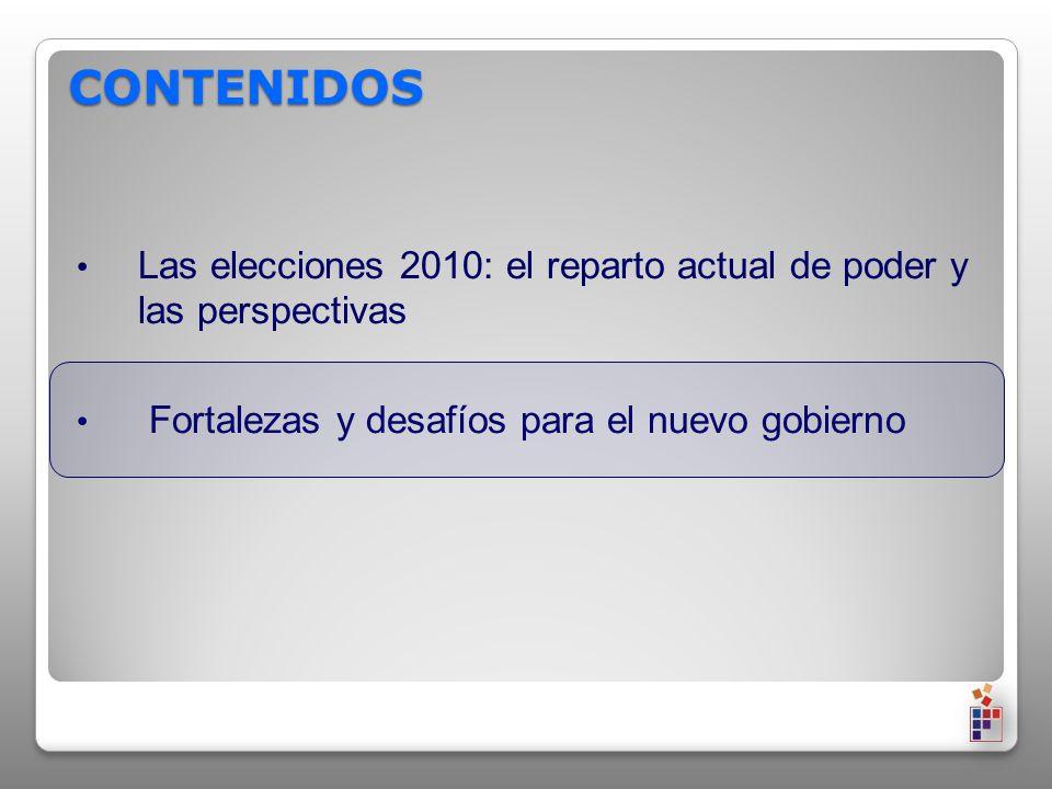 CONTENIDOS Las elecciones 2010: el reparto actual de poder y las perspectivas Fortalezas y desafíos para el nuevo gobierno