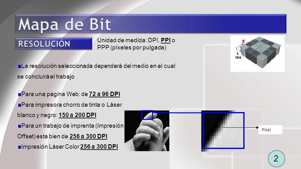Píxel Para una pagina Web: de 72 a 96 DPI Para impresora chorro de tinta o Láser blanco y negro: 150 a 200 DPI Para un trabajo de imprenta (Impresión