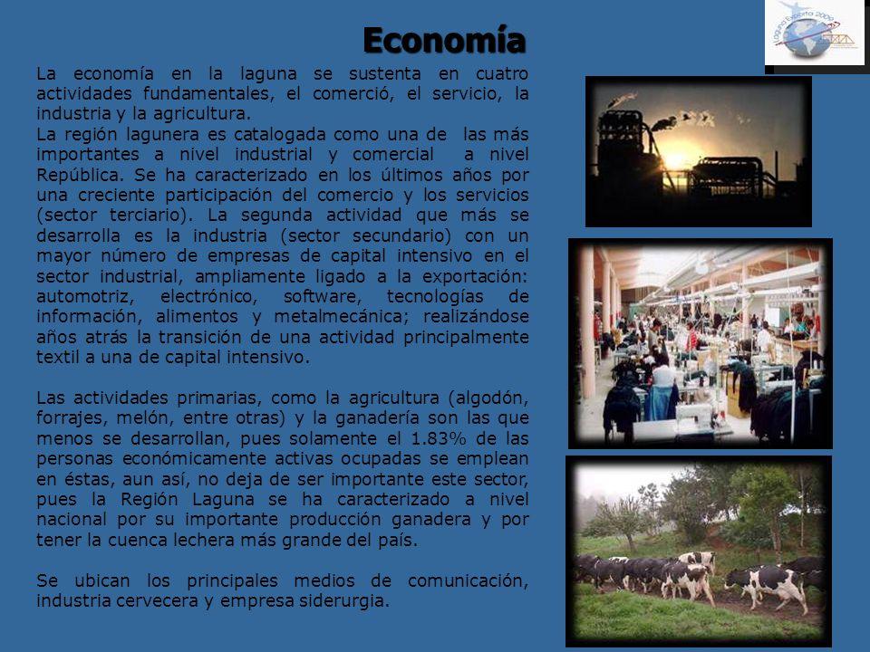 Economía La economía en la laguna se sustenta en cuatro actividades fundamentales, el comerció, el servicio, la industria y la agricultura. La región