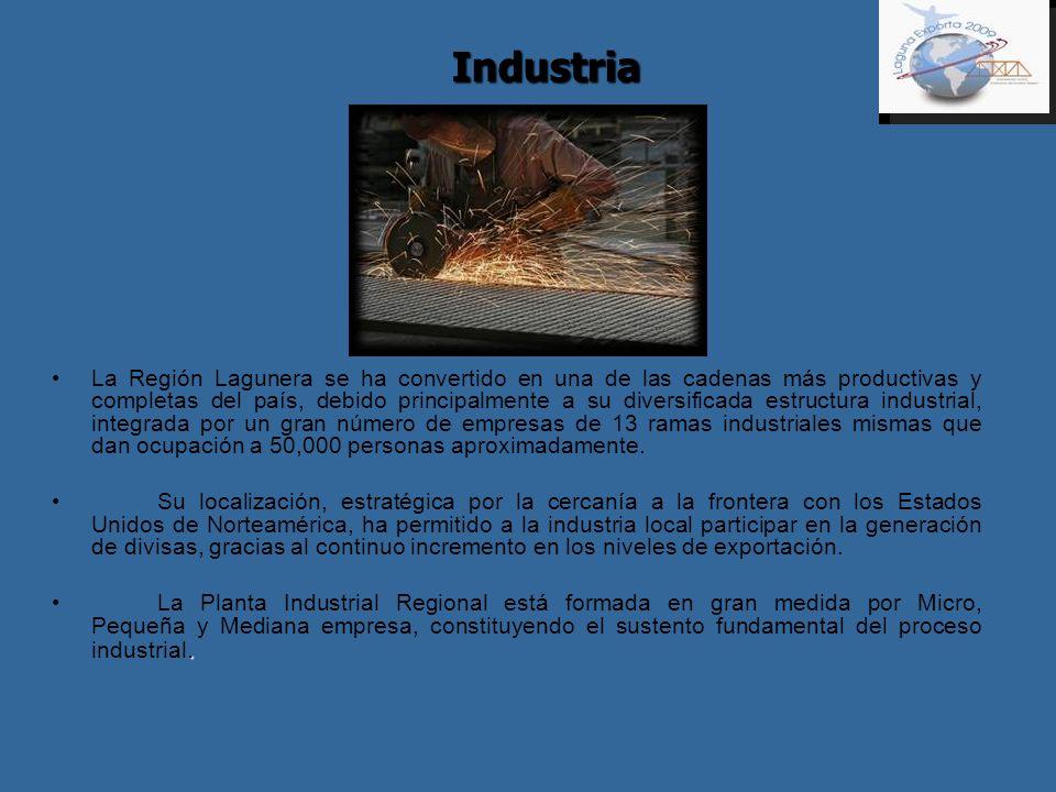 Industria La Región Lagunera se ha convertido en una de las cadenas más productivas y completas del país, debido principalmente a su diversificada est
