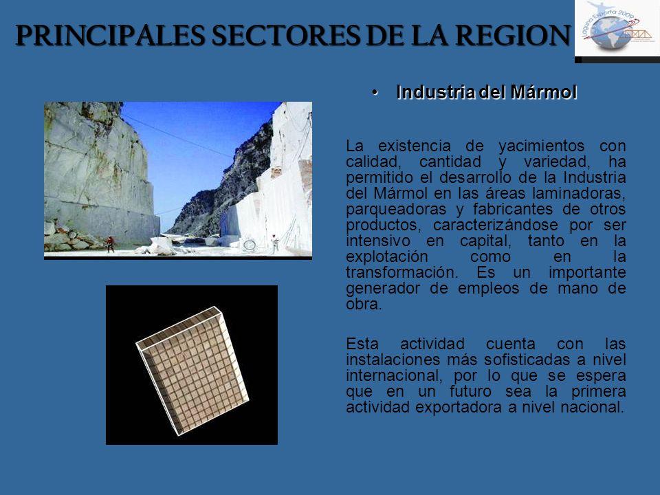 Industria del MármolIndustria del Mármol La existencia de yacimientos con calidad, cantidad y variedad, ha permitido el desarrollo de la Industria del