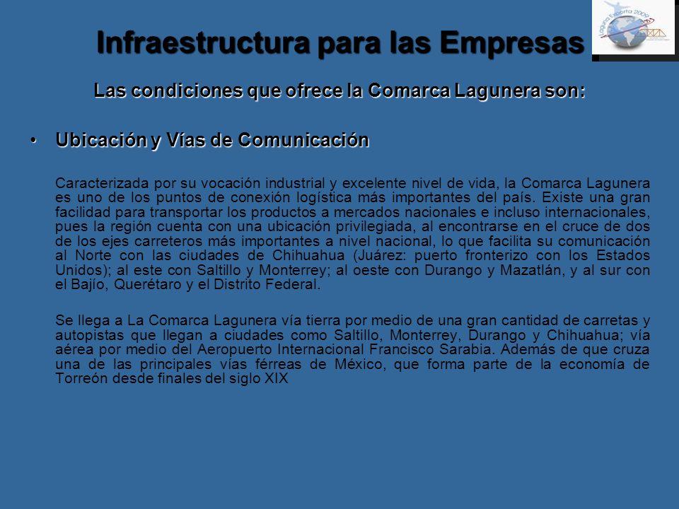 Infraestructura para las Empresas Las condiciones que ofrece la Comarca Lagunera son: Ubicación y Vías de ComunicaciónUbicación y Vías de Comunicación