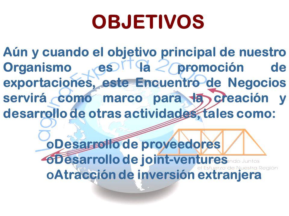 OBJETIVOS Aún y cuando el objetivo principal de nuestro Organismo es la promoción de exportaciones, este Encuentro de Negocios servirá como marco para