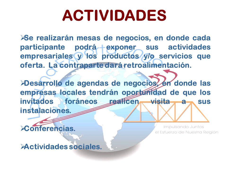 Se realizarán mesas de negocios, en donde cada participante podrá exponer sus actividades empresariales y los productos y/o servicios que oferta. La c