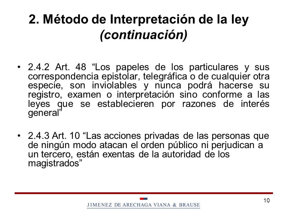 10 2.Método de Interpretación de la ley (continuación) 2.4.2 Art.