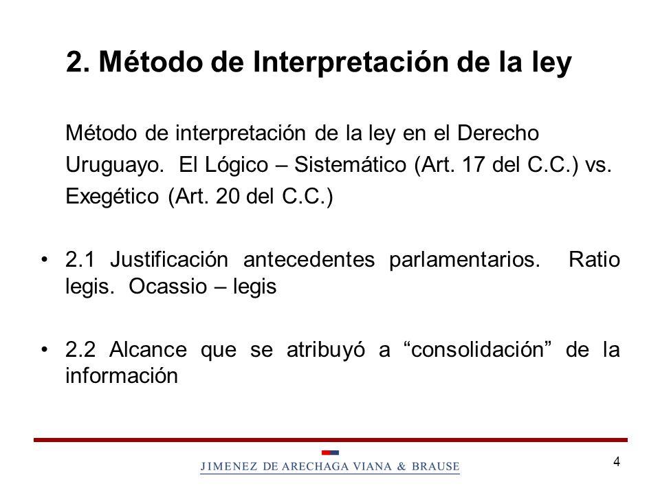 4 2.Método de Interpretación de la ley Método de interpretación de la ley en el Derecho Uruguayo.
