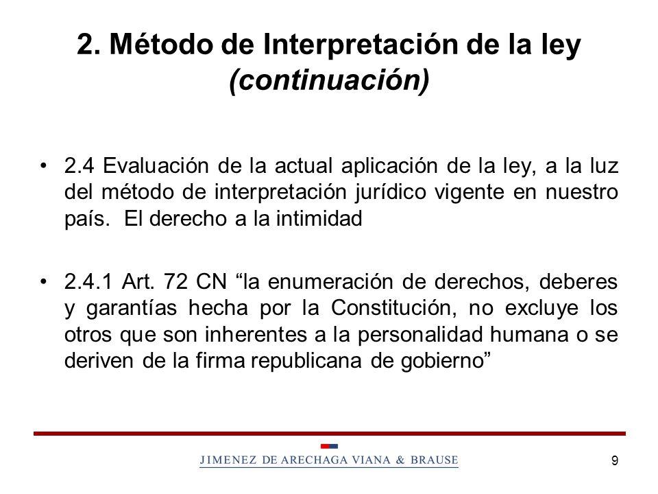 9 2. Método de Interpretación de la ley (continuación) 2.4 Evaluación de la actual aplicación de la ley, a la luz del método de interpretación jurídic