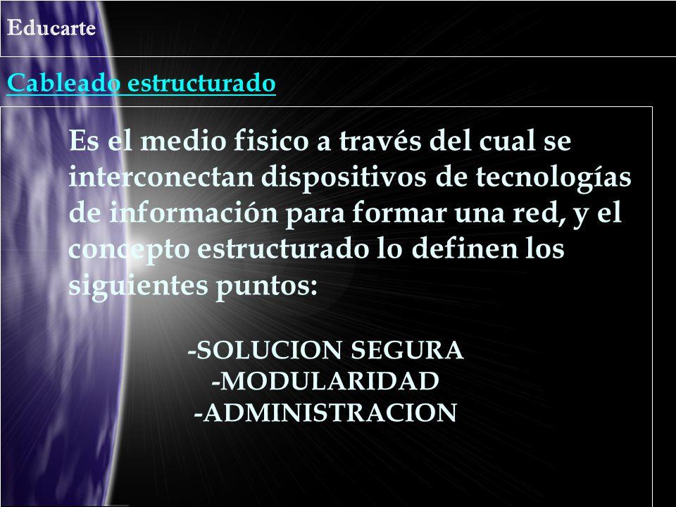 Cableado estructurado Educarte Es el medio fisico a través del cual se interconectan dispositivos de tecnologías de información para formar una red, y el concepto estructurado lo definen los siguientes puntos: -SOLUCION SEGURA -MODULARIDAD -ADMINISTRACION