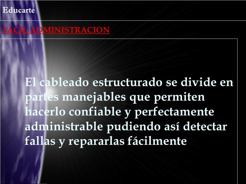 FACIL ADMINISTRACION Educarte El cableado estructurado se divide en partes manejables que permiten hacerlo confiable y perfectamente administrable pud