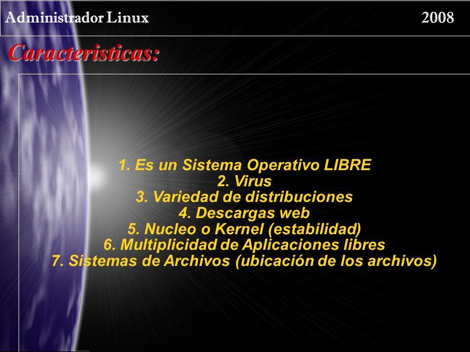 Administrador Linux 2008 Distribuciones: Las distribuciones más conocidas son: Debian Red Hat SUSE Mandriva IPCOP Kubuntu – Ubuntu – Edubuntu Centos Slax Knoppix Gentoo