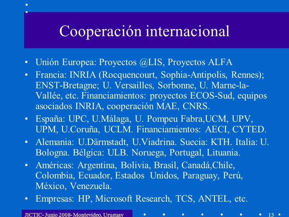 JICTIC- Junio 2008- Montevideo, Uruguay13 Cooperación internacional Unión Europea: Proyectos @LIS, Proyectos ALFA Francia: INRIA (Rocquencourt, Sophia