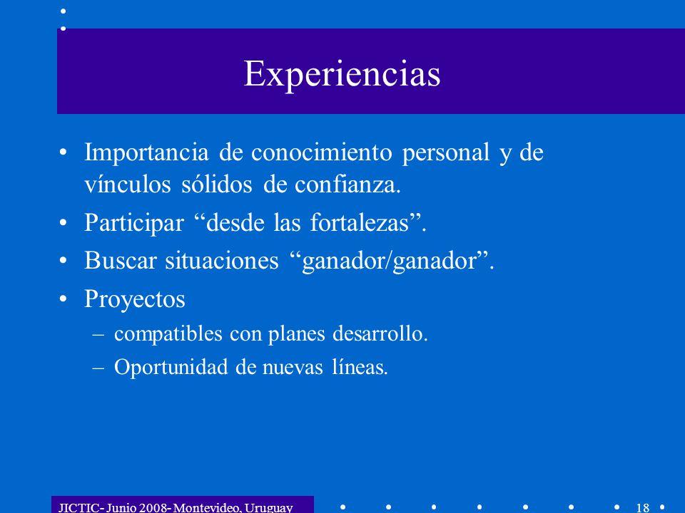 JICTIC- Junio 2008- Montevideo, Uruguay18 Experiencias Importancia de conocimiento personal y de vínculos sólidos de confianza. Participar desde las f