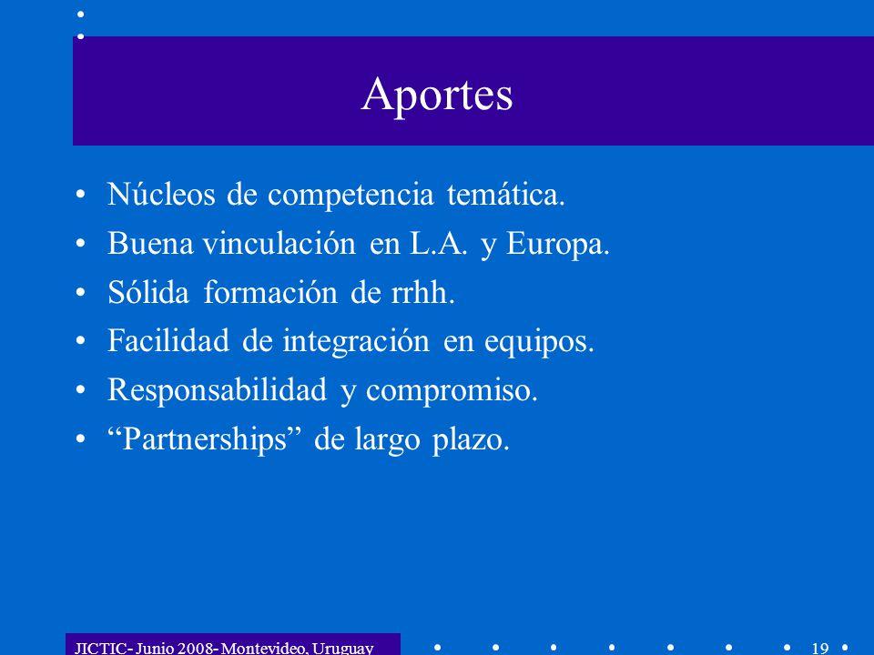 JICTIC- Junio 2008- Montevideo, Uruguay19 Aportes Núcleos de competencia temática. Buena vinculación en L.A. y Europa. Sólida formación de rrhh. Facil