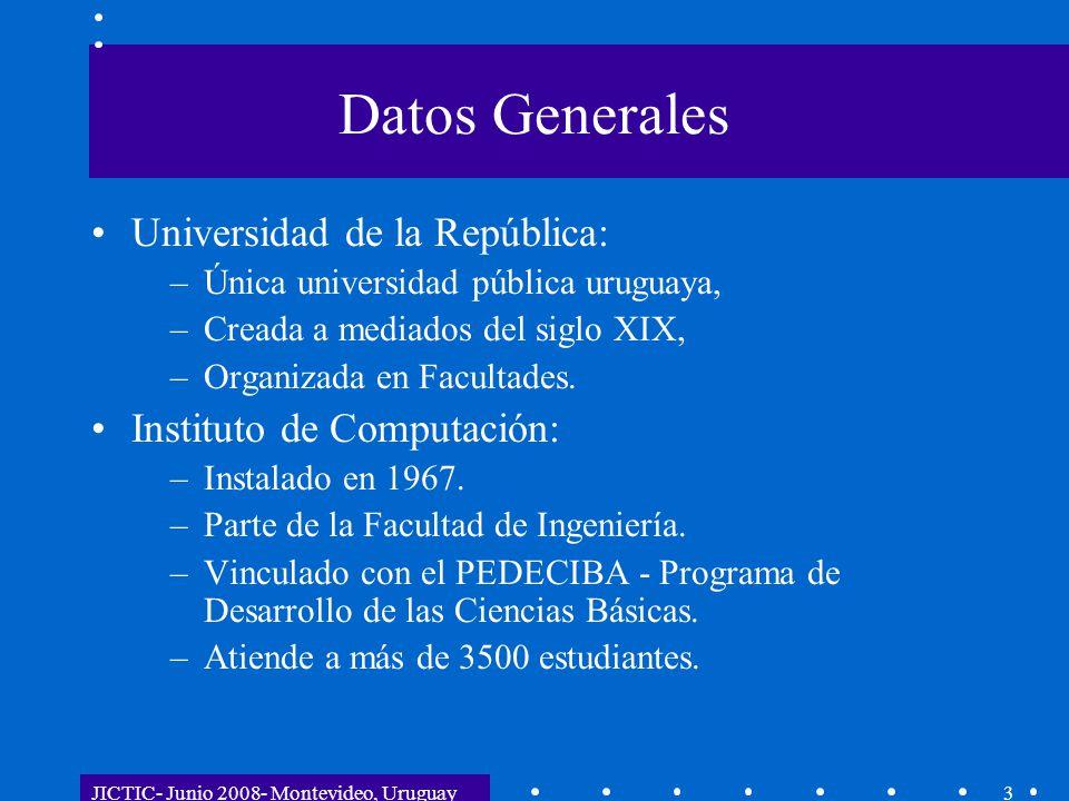 JICTIC- Junio 2008- Montevideo, Uruguay3 Datos Generales Universidad de la República: –Única universidad pública uruguaya, –Creada a mediados del sigl