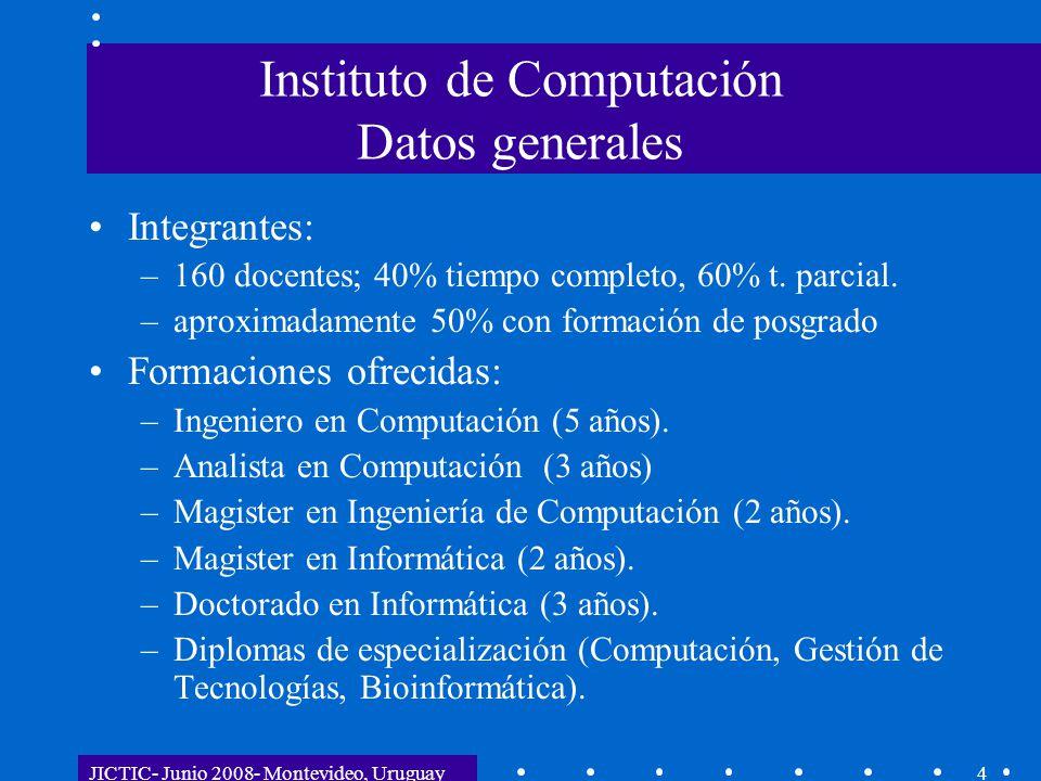 JICTIC- Junio 2008- Montevideo, Uruguay4 Instituto de Computación Datos generales Integrantes: –160 docentes; 40% tiempo completo, 60% t. parcial. –ap