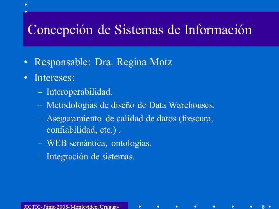 JICTIC- Junio 2008- Montevideo, Uruguay8 Concepción de Sistemas de Información Responsable: Dra. Regina Motz Intereses: –Interoperabilidad. –Metodolog