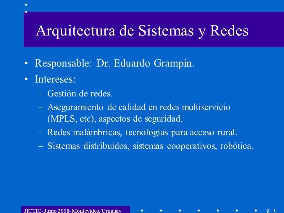 JICTIC- Junio 2008- Montevideo, Uruguay9 Arquitectura de Sistemas y Redes Responsable: Dr. Eduardo Grampín. Intereses: –Gestión de redes. –Aseguramien
