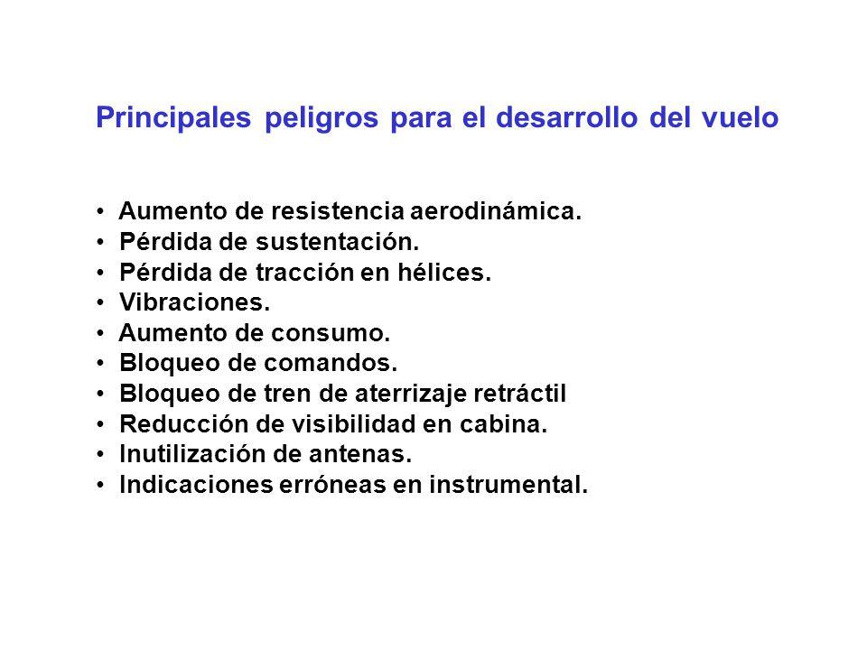 Principales peligros para el desarrollo del vuelo Aumento de resistencia aerodinámica.
